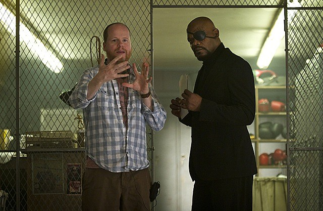 Director Joss Whedon on set with Samuel L. Jackson for 'The Avengers'