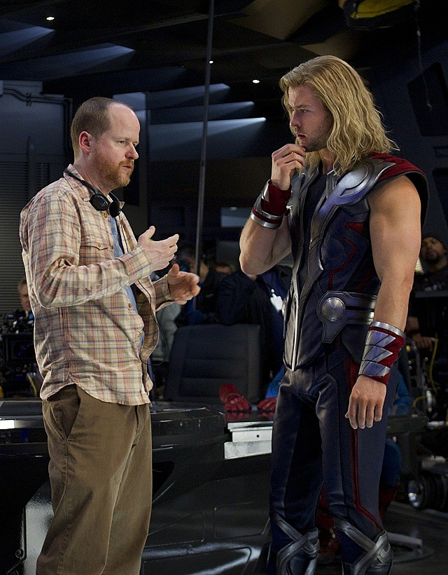Director Joss Whedon and Chris Hemsworth on the set of 'The Avengers'