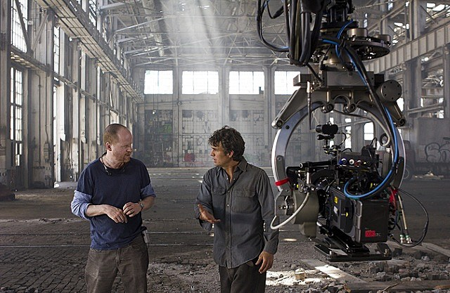 Director Joss Whedon on set with Mark Ruffalo of 'The Avengers'