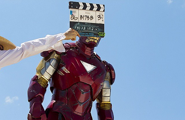 Robert Downey Jr. as Iron Man on the set of 'The Avengers'